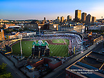 Aerial view of Fifth Third Ballpark with Dayton Ohio skyline in background
