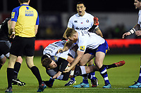 Toby Flood of Newcastle Falcons is tackled to ground by Lucas Noguera Paz of Bath Rugby. Aviva Premiership match, between Newcastle Falcons and Bath Rugby on February 16, 2018 at Kingston Park in Newcastle upon Tyne, England. Photo by: Patrick Khachfe / Onside Images