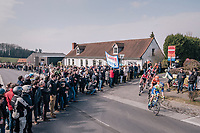 the breakaway group cheered on<br /> <br /> 81st Gent-Wevelgem in Flanders Fields (1.UWT)<br /> Deinze &gt; Wevelgem (251km)