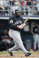 Mo Vaughn of the New York Mets bats during a 2002 MLB season game against the San Diego Padres at Qualcomm Stadium, in San Diego, California. (Larry Goren/Four Seam Images)