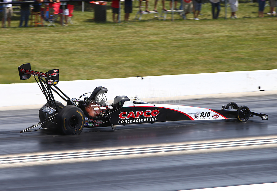 Jul 10, 2016; Joliet, IL, USA; NHRA top fuel driver Steve Torrence during the Route 66 Nationals at Route 66 Raceway. Mandatory Credit: Mark J. Rebilas-USA TODAY Sports