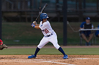 AZL Dodgers left fielder Jeremiah Vison (10) at bat during an Arizona League game against the AZL Angels at Camelback Ranch on July 8, 2018 in Glendale, Arizona. The AZL Dodgers defeated the AZL Angels by a score of 5-3. (Zachary Lucy/Four Seam Images)