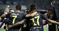 Calcio, Serie A: Parma - Juventus, Parma stadio Ennio Tardini, 1 settembre 2018.<br /> Juventus' Mario Mandzukic (c) celebrates after scoring with his teammates during the Italian Serie A football match between Parma and Juventus at Parma's Ennio Tardini stadium, September 1, 2018. <br /> UPDATE IMAGES PRESS/Isabella Bonotto