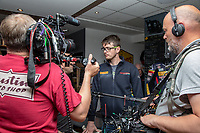 TT Racer Connor Cummins is interviewed as RST Launches a new Airbag Project for Motorcycles in partnership with In&Motion during the TT (Tourist Trophy) on the Isle of Man where the new intelligent protection technology is being tested, at Conrod's Coffee Shop, Ramsey, Isle of Man on 1 June 2019. Photo by David Horn.