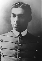 Photograph of Lieutenant Henry Ossian Flipper, 1856-1940, served and courtmartialed at Fort Davis, born a slave in Georgia in 1856, the first African-American graduate of the US Military Academy at West Point, special assistant in the 1920s to the Secretary of the Interior, exhibited at the Fort Davis National Historic Site, a US army fort established 1854, in a canyon in the Davis Mountains in West Texas, USA. The fort was built to protect emigrants, mail coaches, and freight wagons on the trails through the State from Comanche and Apache Indians. After the Civil War, several African-American regiments were stationed here. By the 1880s, the fort consisted of one 100 buildings, housing over 400 soldiers. It was abandoned in 1891, but many buildings have been restored and the compound now operates as a historical site and museum. Picture by Manuel Cohen