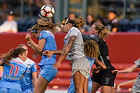 Bridgeview, IL - Sunday September 03, 2017: Katie Naughton, Jessica McDonald, Alyssa Naeher during a regular season National Women's Soccer League (NWSL) match between the Chicago Red Stars and the North Carolina Courage at Toyota Park. The Red Stars won 2-1.