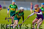 Kerry's Patrice Diggins attempts to get past Sarah O'Connor of Wexford in the National Camogie league Division 2 game, in Austin Stack Park on Sunday