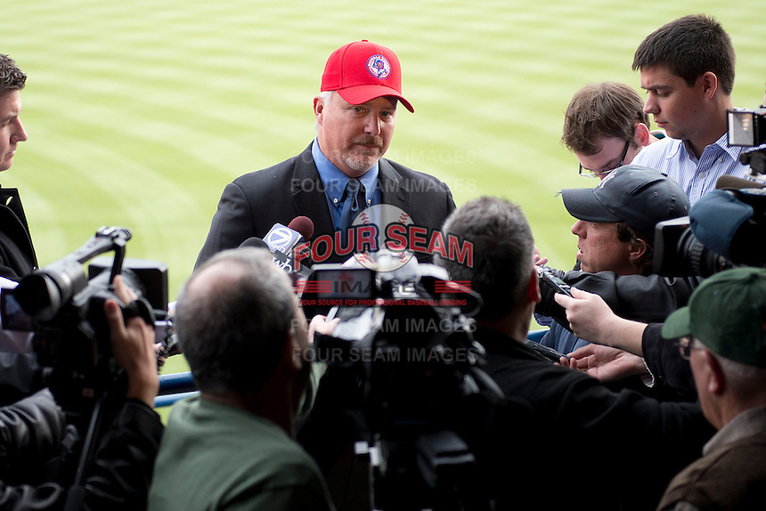 Buffalo Bisons manager Marty Brown surrounded by media during a press conference introducing him as the teams new manager for their affiliation with the Toronto Blue Jays at Coco-Cola Field on November 20, 2012 in Buffalo, New York.  (Mike Janes/Four Seam Images)