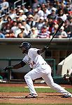 Reno Aces' Wily Mo Peña gets a single during Sunday's minor league baseball game against the Colorado Springs Sky Sox on April 17, 2011, in Reno, Nev. The Sky Sox won 8-5 despite Peña going three-for-five with two runs scored. .Photo by Cathleen Allison