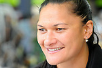 Double Olympic champion Shot putter Valerie Adams on the ActivePostTour. Paper Plus, Richmond, Nelson, New Zealand. Thursday 23 October 2014. Photo: Chris Symes/www.shuttersport.co.nz. ***NOTE RIGHTS MANAGED IMAGES FOR EDITORIAL USE ONLY, NO COMMERICIAL OR PERSONAL USE***