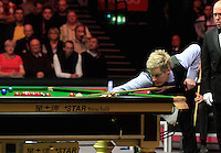 Neil Robertson plays a shot during the Dafabet Masters Quarter Final 2 match between Judd Trump and Neil Robertson at Alexandra Palace, London, England on 15 January 2016. Photo by Liam Smith / PRiME Media Images.