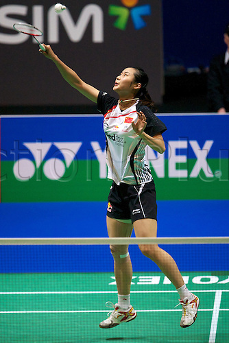11.03.2012 Birmingham, England. Wang Yihan (CHN) in action during the Yonex All England Open Badminton Championships at the National Indoor Arena.