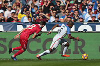 San Diego, CA - Sunday January 29, 2017: Nikola Cirkovic, Darlington Nagbe during an international friendly between the men's national teams of the United States (USA) and Serbia (SRB) at Qualcomm Stadium.