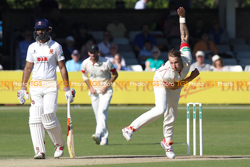 Kyle Jarvis in bowling action for Lancashire during Essex CCC vs Lancashire CCC, Specsavers County Championship Division 1 Cricket at The Cloudfm County Ground on 9th April 2017