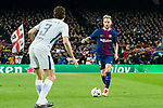 Ivan Rakitic (R) of FC Barcelona is tackled by Marcos Alonso of Chelsea FC during the UEFA Champions League 2017-18 Round of 16 (2nd leg) match between FC Barcelona and Chelsea FC at Camp Nou on 14 March 2018 in Barcelona, Spain. Photo by Vicens Gimenez / Power Sport Images