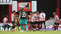 Ollie Watkins celebrates scoring Brentford's opening goal during Brentford vs Swansea City, Sky Bet EFL Championship Play-Off Semi-Final 2nd Leg Football at Griffin Park on 29th July 2020