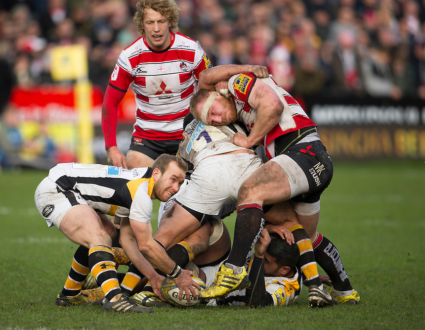 Gloucester Rugby's Matt Kvesic disrupts ball for Wasps' Dan Robson<br /> <br /> Photographer Ashley Western/CameraSport<br /> <br /> Rugby Union - Aviva Premiership Round 15 - Gloucester Rugby v Wasps - Saturday 5th March 2016 - Kingsholm Stadium - Gloucester<br /> <br /> &copy; CameraSport - 43 Linden Ave. Countesthorpe. Leicester. England. LE8 5PG - Tel: +44 (0) 116 277 4147 - admin@camerasport.com - www.camerasport.com
