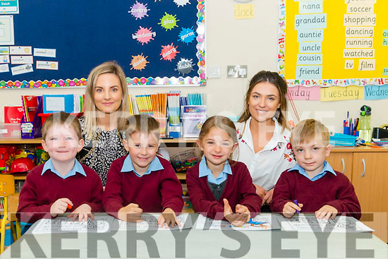 Principal Lucy O'Sullivan and Class teacher Norita Cashman with her new junior infants l-r Darragh Carey, Cian O'Sullivan, Jennifer O'Doherty and Cian O'Connell on their first day of school in Knockanes NS last Monday.