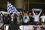 10 March 2012: A small group of Kansas City fans celebrate after a goal at the end of the game. Sporting Kansas City defeated DC United 1-0 at RFK Stadium in Washington, DC in a 2012 regular season Major League Soccer game.