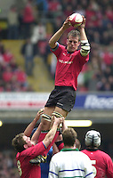 27/03/2004  -  RBS Six Nations Championship 2004 Wales v Italy.Welsh lock gareth Llewellyn, collects the line out ball.   [Mandatory Credit, Peter Spurier/ Intersport Images].