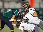 Torrance, CA 10/09/15 - Trevor Talpas (South #8), Ryan Kirkwood (Torrance #40) and unidentified Torrance player(s) in action during the Torrance vs South High varsity football game.  South defeated Torrance 24-21.