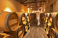 The winery with stainless steel fermentation tanks and old wooden barrels barriques Chateau Kirwan, Cantenac Margaux Medoc Bordeaux Gironde Aquitaine France