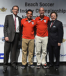 HOLLYWOOD, FL - SEPTEMBER 18: vice president of entertainment for Hard Rock Live Bernie Dillon, U.S. team player Oscar Gil, U.S. team Captain Francis Farberoff and Rich Rose of Beach Soccer North America attends Beach Soccer U.S. Indoor Championships Press Conference at Paradise Live! at Seminole Hard Rock Hotel & Casino on September 18, 2012 in Hollywood, Florida.  to announce six teams from Brazil, Colombia, Mexico, Spain, Venezuela and the United States will compete in the Beach Soccer U.S. Indoor Championships from November 13th -17th at the Hard Rock Live! in the Seminole Hard Rock Hotel & Casino.(Photo by Johnny Louis/jlnphotography.com)