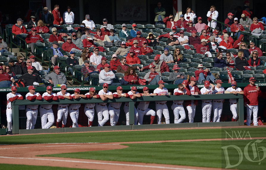 NWA Democrat-Gazette/BEN GOFF @NWABENGOFF<br /> Arkansas plays Rhode Island Friday, March 10, 2017, during the first game of a double header at Baum Stadium in Fayetteville.