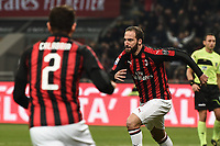 Gonzalo Higuain of AC Milan celebrates after scoring a goal during the Serie A 2018/2019 football match between AC Milan and SPAL at stadio Giuseppe Meazza in San Siro, Milano, December 29, 2018 <br /> Foto Image Sport / Insidefoto