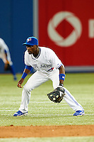 Toronto Blue Jays shortstop Adeiny Hechavarria #3 during an American League game against the Seattle Mariners at the Rogers Centre on September 13, 2012 in Toronto, Ontario.  Toronto defeated Seattle 8-3.  (Mike Janes/Four Seam Images)