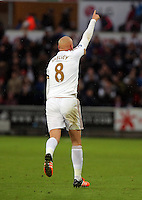 Jonjo Shelvey of Swansea celebrates his goal he scored with a penalty kick during the Barclays Premier League match between Swansea City and Bournemouth at the Liberty Stadium, Swansea on November 21 2015
