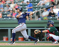 Infielder Fernando De Los Santos (1) of the Rome Braves, an Atlanta Braves affiliate, in a game against the Greenville Drive on May 6, 2012, at Fluor Field at the West End in Greenville, South Carolina. Greenville won, 11-3. (Tom Priddy/Four Seam Images)