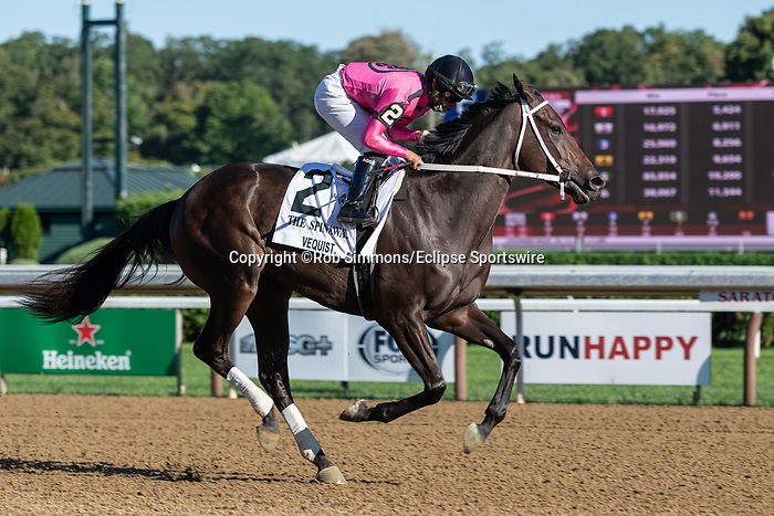 September 06, 2020: VEQUIST #2, ridden by Luis Saez trained by R.E. Reid Jr.  wins the Spinaway at at Saratoga Race Course in Saratoga Springs, New York. Rob Simmons/CSM