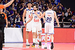 Real Madrid's Gustavo Ayon, Sergio Llull and Jaycee Carroll during Turkish Airlines Euroleage match between Real Madrid and EA7 Emporio Armani Milan at Wizink Center in Madrid, Spain. January 27, 2017. (ALTERPHOTOS/BorjaB.Hojas)