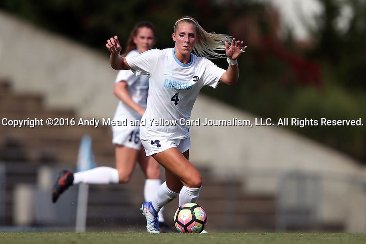 21 August 2016: North Carolina's Bridgette Andrzejewski. The University of North Carolina Tar Heels hosted the University of North Carolina Charlotte 49ers in a 2016 NCAA Division I Women's Soccer match. UNC won the game 3-0