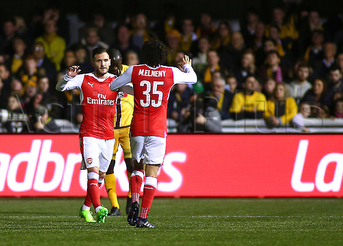 February 20th 2017, The Borough Sports Ground, Sutton, Surrey, England; FA Cup 5th Round football, Sutton United versus Arsenal FC; Lucas of Arsenal celebrates giving Arsenal the lead with Mohamed Elneny of Arsenal, 0-1 Arsenal