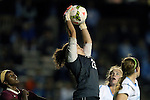 23 October 2014: North Carolina's Lindsey Harris (23) catches the ball. The University of North Carolina Tar Heels hosted the Florida State University Seminoles at Fetzer Field in Chapel Hill, NC in a 2014 NCAA Division I Women's Soccer match. The game ended in a 1-1 tie after double overtime.