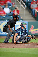 Corpus Christi Hooks catcher Garrett Stubbs (1) and home plate umpire Malachi Moore during a game against the Springfield Cardinals on May 30, 2017 at Hammons Field in Springfield, Missouri.  Springfield defeated Corpus Christi 4-3.  (Mike Janes/Four Seam Images)