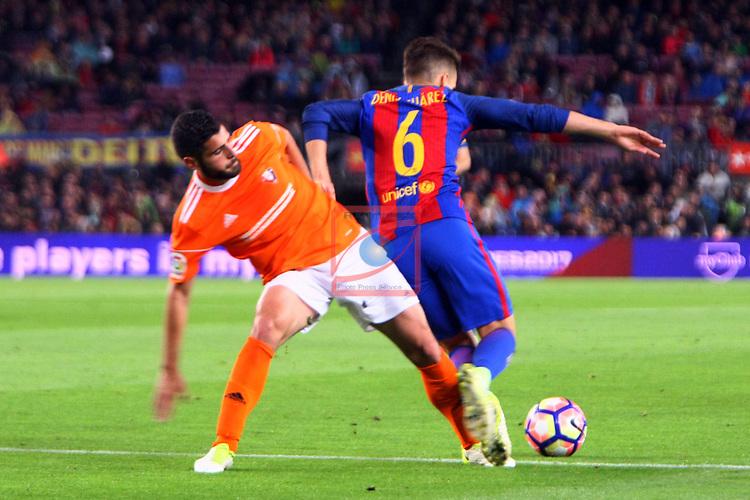 League Santander 2016/2017. Game: 34.<br /> FC Barcelona vs CA Osasuna: 7-1.<br /> Fran Merida vs Denis Suarez.