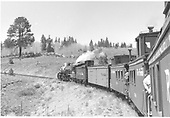 Rocky Mountain Railroad Club excursion - with D&amp;RGW #499 and three cabooses, this must be the 1955 Memorial Day trip.<br /> D&amp;RGW  Cumbres Pass, CO  5/1955