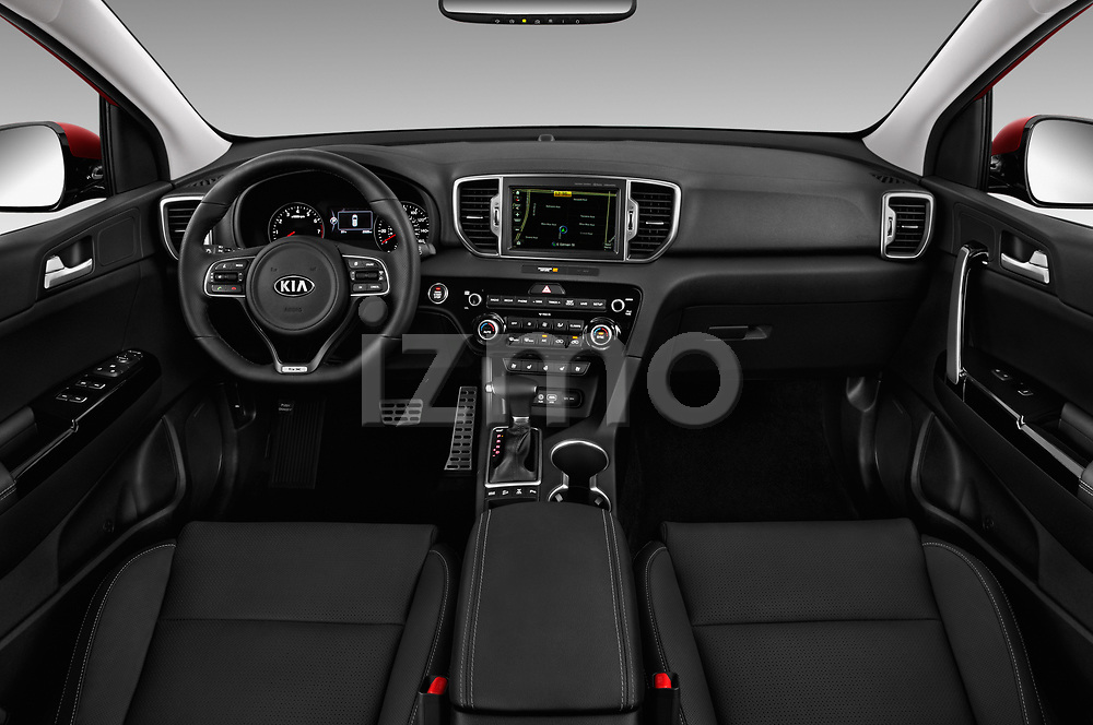 Stock photo of straight dashboard view of a 2017 KIA Sportage EX 5 Door SUV