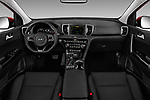 Stock photo of straight dashboard view of a 2018 KIA Sportage EX 5 Door SUV