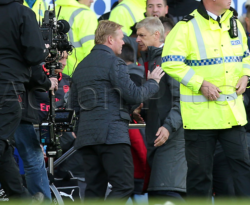 22nd October 2017, Goodison Park, Liverpool, England; EPL Premier League football, Everton versus Arsenal; Ronald Koeman, manager of Everton and Arsene Wenger , manager of Arsenal shake hands at the final whistle