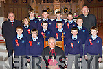Young men from Castleisland Boys NS that was confirmed in St Stephen and John's church Castleisland on Thursday by Bishop Bill Murphy front row l-r: Front row left to right: Shane Lynch, Charlie Cooney, Bishop Bill Murphy, John Conway, Sean Spillane. Middle row left to right: Denis Griffin[teacher], Dominic Wois, Sean McNally, James McEllistrim, Donnchadh Callaghan. Back row left to right: Ptk. O'Connor, Timothy Mitchell, Donahue O'Mahony, Matthew Browne and Fr. Ml. Moynihan.