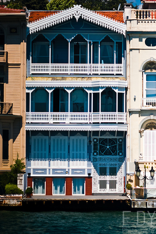 Typical wooden  architecture of the houses on the sides of the Bosphorus (Istanbul, Turkey).