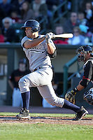 Scranton Wilkes-Barre Yankees catcher Jesus Montero #21 at bat during a game against the Rochester Red Wings at Frontier Field on April 9, 2011 in Rochester, New York.  Rochester defeated Scranton 7-6 in twelve innings.  Photo By Mike Janes/Four Seam Images