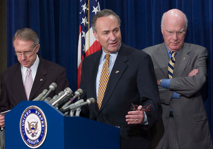06/22/05.SENATE DEMOCRATS URGE BUSH TO CONSULT THEM ON NEXT SUPREME COURT NOMINEE--Senate Minority Leader Harry Reid, D-Nev., Sen. Charles E. Schumer, D-N.Y., and Sen. Patrick J. Leahy, D-Vt., during a news conference urging President Bush to consult them regarding who he should nominate should there be a vacancy on the Supreme Court. The ailing Chief Justice William H. Rehnquist is widely expected to retire at the end of the term. .CONGRESSIONAL QUARTERLY PHOTO BY SCOTT J. FERRELL