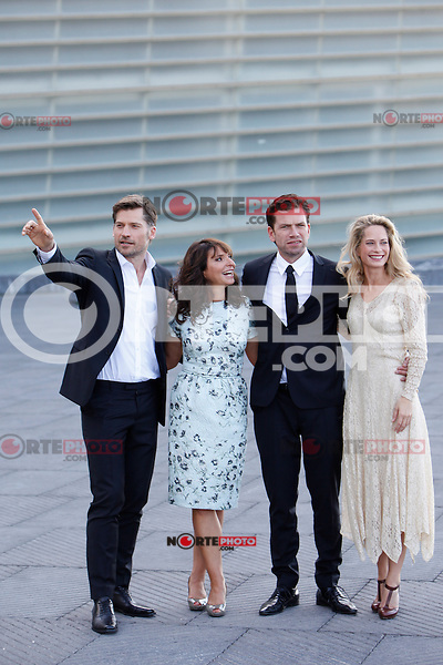 Actors Nikolaj Coster-Waldau, Maria Bonnevie, Nikolaj Lie Kaas and the director Susanne Bier present the film 'A Second Chance' during the 62st San Sebastian Film Festival in San Sebastian, Spain. September 21, 2014. (ALTERPHOTOS/Caro Marin)