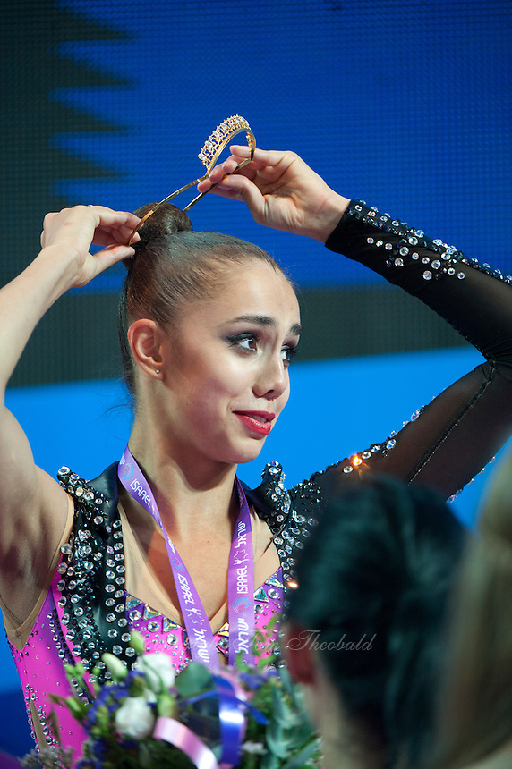 RITA MAMUN of Russia receives crown and silver medal for AA win  at 2016 European Championships at Holon, Israel on June 18, 2016.