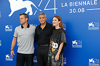 U.S. director George Clooney, center, poses with actors Matt Damon, left, and Julienne Moore, during a photo call for his movie 'Suburbicon' at the 74th Venice Film Festival, Venice Lido, September 2, 2017. <br /> UPDATE IMAGES PRESS/Marilla Sicilia<br /> <br /> *** ONLY FRANCE AND GERMANY SALES ***